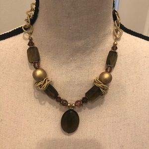 Gold Tone  and Smoky Quartz  Look Necklace